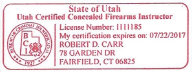 Utah Certified Concealed Firearms Instructor - Fairfield, CT